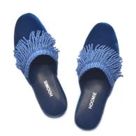 Chalet Handmade Velvet Slippers - Blue image