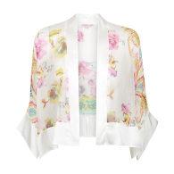 Whisper Silk Short Kimono - Cream Paisley Print image