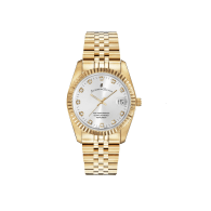 Jacques Du Manoir Swiss Made Inspiration Silver Dial Gold IP Case and Bracelet 36mm Watch with Date image