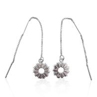 Radial Sunburst Dangling Earrings In Sterling Silver image