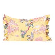 Pastel Floral Ruffled Oblong Cushion image