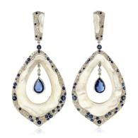 18k White Gold Blue Sapphire Kyanite Mother Of Pearl Dangle Earrings Diamond Jewelry image