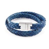 Royal Blue Leather Double Wrap Bracelet - Stark Silver image
