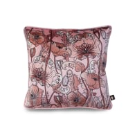 Opium Blush Pink Velvet Cushion- Small image