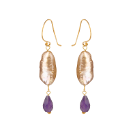 Baroque Pink Pearl & Amethyst Peardrop Earrings image