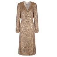 Midi Wrap Satin Dress With Buttons - Animal Print image