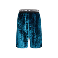 Unisex Crushed Velvet Shorts In Teal image