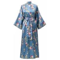 Silk Robe In Blue Satin - Belle Époque image