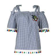 Plaid Off Shoulder Blouse with Colorful Tassels image