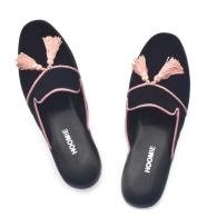 Villa Handmade Velvet Slippers - Black image