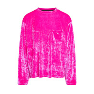 Unisex Crushed Velvet Long Sleeve Top In Hot Pink image