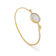 18K Gold Vermeil Openable Bracelet Set With A Clover Engraved Rock Cristal image