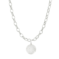 Sterling Silver Large Round Charm Necklace image