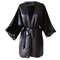 Mini Silk Magyar Robe With French Lace Sleeve Hem Black image