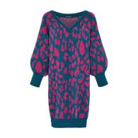 Elizabeth Animal Midi Knitted Dress Teal image