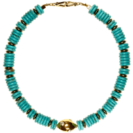 Aqua Turquoise Heishi with 18K Gold Plated freshwater pearl clay bead necklace image