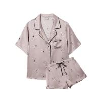 Self in Naked Printed Silk-Satin Shirt and Shorts Set image