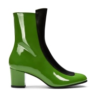 No.16 Avocado Green Patent Leather Mid-Heel Boots image