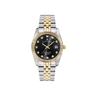 Jacques Du Manoir Swiss Made Inspiration Gold Two Tone Black Dial 36mm Watch with Date image