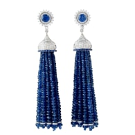18k White Gold Blue Sapphire Diamond Tassel Earrings Handmade Jewelry image