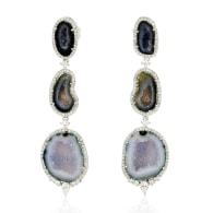 18k White Gold Pave Diamond Geode Dangle Earrings Handmade Jewelry image