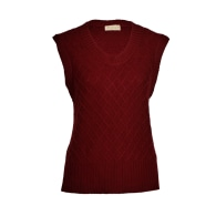 Diamond Pattern Silk Cashmere Sleeveless Sweater - Cabernet image