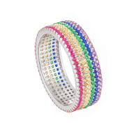 Ecoated Sterling Silver Rainbow CZ Pave Band image