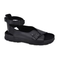 Athens Flat Leather Sandals - Black image