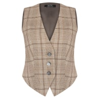 Esther checked viscose waistcoat vest mother of pearl buttons image