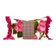 Fuschia Florals Ruffled Oblong Cushion image