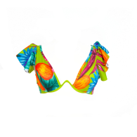 Magalenha - Lime Green / Colorful Tropical Pattern Ruffle Style Top image
