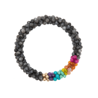 Beaded Gemstone Bracelet - Labradorite & Rainbow & Gold image