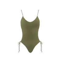 Miss Confident One-Piece Swimsuit- Green Khaki image