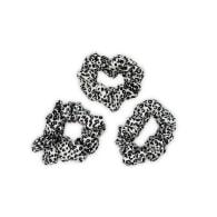 Leopard Silk Scrunchies Set In Black & White Detail image