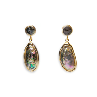 Ula 18K Gold Plated Abalone Earrings image