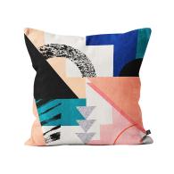 Printed Blocks Cushion In Multi-Color image