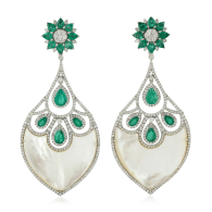18k Gold Natural Emerald Mother Of Pearl Dangle Earrings Handmade Jewelry image