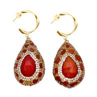 Jasper With Rhinestones Bordered Agate Hook Earrings image
