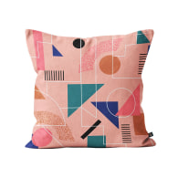 Printed Linear Cushion In Pink, Turquoise & Mustard image