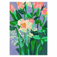 Purple Floral Art Giclée Print A4 image