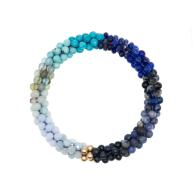 Beaded Gemstone Bracelet - Blue Ombre & Gold image