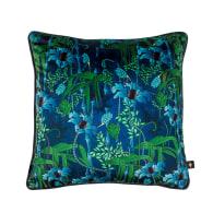 Electric Lagoon Blue Velvet Cushion- Small image