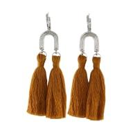 Khonsu Arc Tassel Hoops - Silver With Burnt Orange Tassels image
