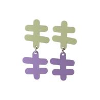 Double Reef Earrings - Foggy Green & Lavender image