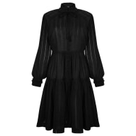 Bluebell black openwork cotton dress with stand up collar and decorative buttons image