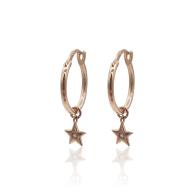 Star Charms Huggie Hoop Earrings With White Topaz In 18K Rose Gold Vermeil image
