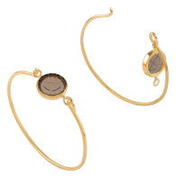 18K Gold Vermeil Openable Bracelet Set With A Clover Engraved Smoked Quartz image