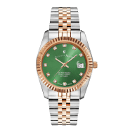 Swiss-Made Inspiration Rose Gold Two Tone Green Dial Watch With Date image
