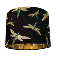 Dragonfly Swarm Black Velvet Lampshade- Small image