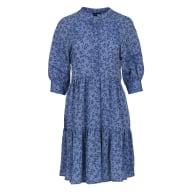Loose Dark Blue Floral Ruffle Dress image